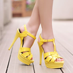 Sexy Womens High Heel Peeptoe ANkle T-strappy Platform Cut Out OL Ladies Sandals