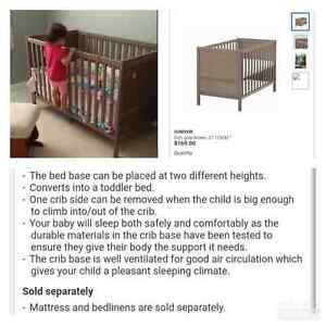 CRIB- grey/brown EUC, used for 1 year only