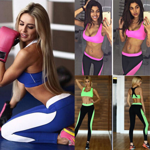 Donna Fitness Yoga Palestra Set Abbigliamento Sportivo Reggiseno + Leggings