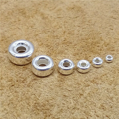 Bulk Sterling Silver Donut Beads 925 Silver Tire Beads for Bracelet Necklace