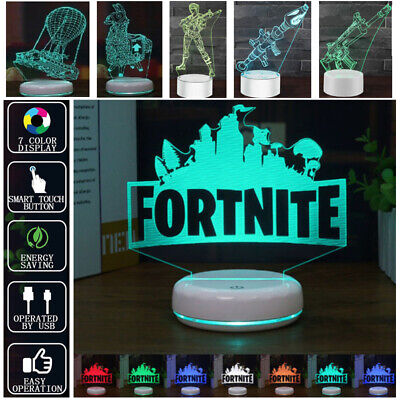 Fortnite 3D LED Night Light Colors Change Desk Table Lamp Xmas Kids Gift Game AU
