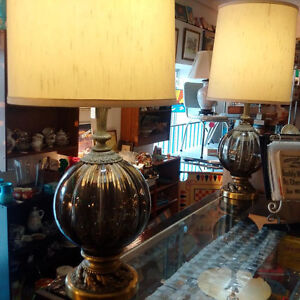PR. Mid Cent Mod Green Glass Table Lamps