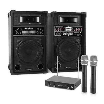 Paar PA Lautsprecher mit MP3 Wiedergabe und 2 Funkmikrofonen für Karaoke Partys