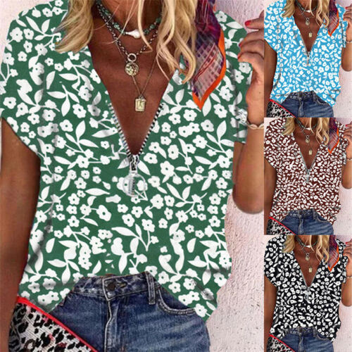 Summer Women New V-neck Short-sleeve Tops Loose Blouse Floral Casual T Shirt Us Clothing, Shoes & Accessories