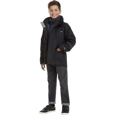 Trespass Boys Prime 2 3 In 1 Waterproof Jacket, Black, Age 3/4, BNWT