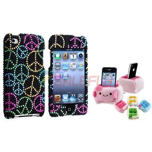 Peace Sign Bling Case Cover+Cartoon Plush Holder For iPod Touch 4 4th 4G Gen