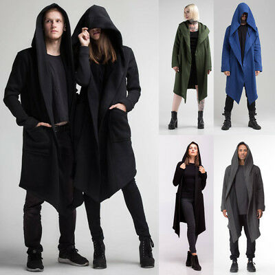 USA Men Women Cardigan Hooded Long Cloak Cape Coats Loose Casual Jackets Outwear - Womens Capes