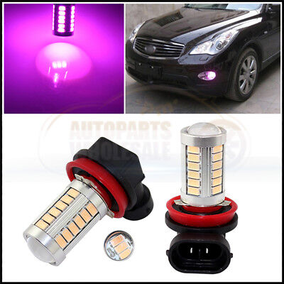 2× Purple Pink High Power H11 H8 33SMD LED Lens Bulbs For Car truck Fog Lights