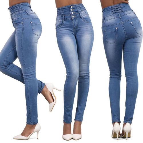 Damen Hochbund Denim Jeans Hose Röhrenjeans Röhre Jeanshose Slim Fitness Jegging