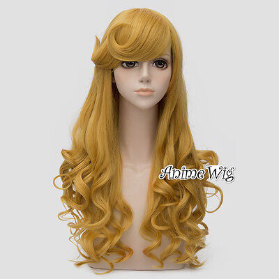 Anime Princess Sleeping Beauty Aurora Cosplay Wig Perücke lockig Haar Halloween