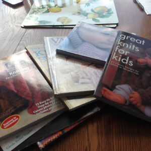 Sewing, crocheting, quilting books and material