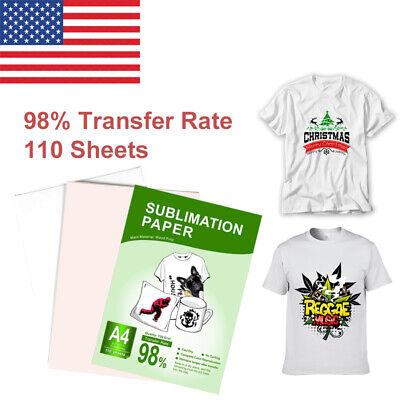 110 Sheets Heat Sublimation Transfer Paper Iron On Diy T-shirt Cotton Mug Injet