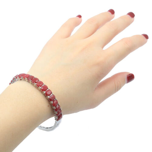 """8x6mm Stunning 15.6g Real Red Ruby Women Daily Wear Silver Bangle Bracelet 8.5"""""""