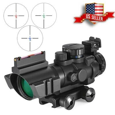 ACOG 4X32 Red Green Blue Fiber Optics Sight Illuminated Dovetail Reflex Reticle