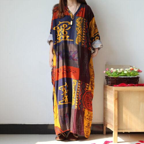 Plus Size Summer Boho Hippie Women Long Sleeve Loose Kaftan Long Maxi Dress