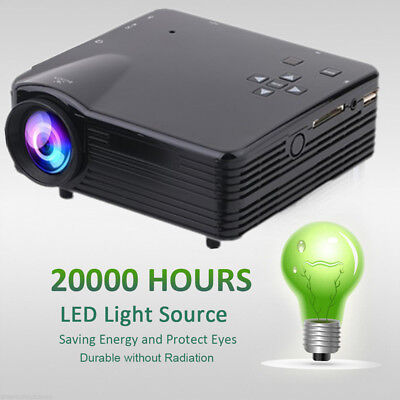 4K HD 1080P 7000 Lumens LED LCD Projector Home Theater PC AV TV VGA USB HDMI BT