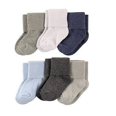 LUVABLE FRIENDS 6 PACK BASIC CUFF SOCKS BABY BOYS 0-6 6-12 12-18 MONTHS SOLIDS