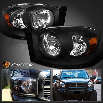 For 2006-2008 Dodge Ram 1500 2500 3500 Diamond Black Headlights Lamps Left+Right