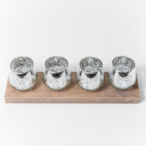 Silver Mercury Candle Holders Set (wood stand )