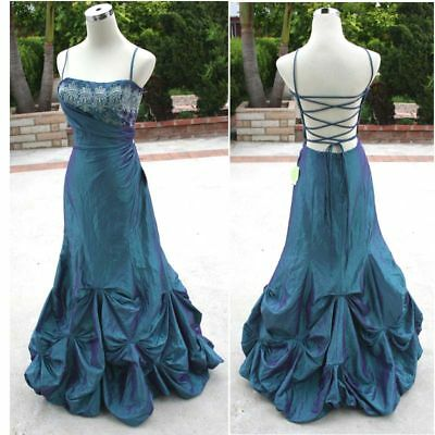 NWT MASQUERADE $170 Peacock/Purple Junior Formal Gown 5