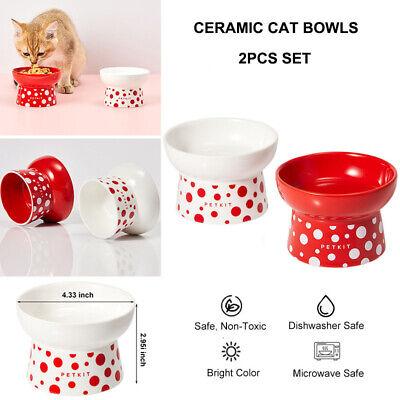 PETKIT 2pcs Elevated Cat Bowls Ceramic Pet Dog Food Water Dishes Raised Bowls