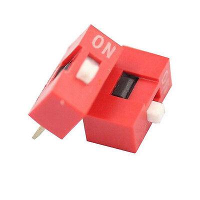 10pcs 2.54mm Red Pitch 8-bit 1 Positions Ways Slide Type Dip Switch Sales Rh