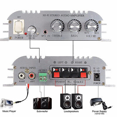 300W DC 12V Amplifier Booster Radio MP3 Stereo for Car Subwoofer Home Hi-Fi 2.1