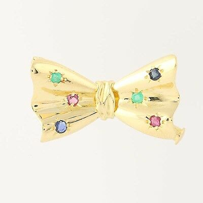 Multi-Gemstone Bow Brooch - 18k Yellow Gold Ruby Sapphire Emerald Pin .22ctw