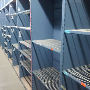 E-Z-Rect industrial shelving units with wire mesh shelves