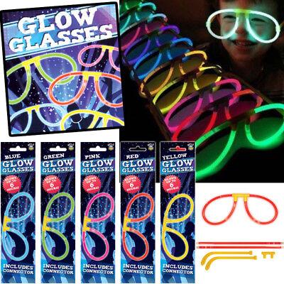 NEON GLOW IN THE DARK GLASSES FUN GLOW STICK GLASSES BIRTHDAY PARTY BAG FILLERS - Glass In Glow Sticks