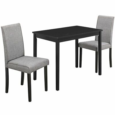 Monarch 3 Piece Dinette Set in Black and Gray