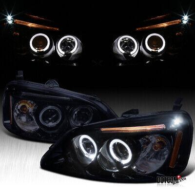 For 2001-2003 Honda Civic Black Smoke LED Halo Projector Headlights Left+Right 03 Honda Civic Projector Headlights