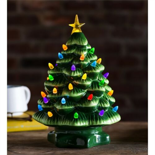 Christmas Ceramic Tree LED Lights and Music 14""
