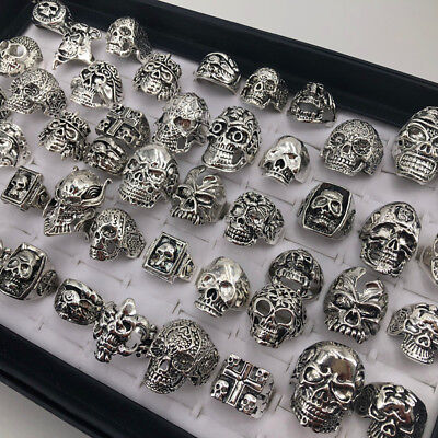 Wholesale 25pcs Lots Gothic Punk Skull Antique Silver Rings Mixed Style Jewelry - Punk Wholesale