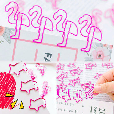 Metallic Paper Clip (10pcs Cute Pig Flamingo Bookmark Paper Clip Hollow Metal Binder Office)