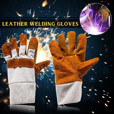 1 Pair Pro Welding Gloves Heat Resistant Welder Work Soft Cowhide Leather Gloves