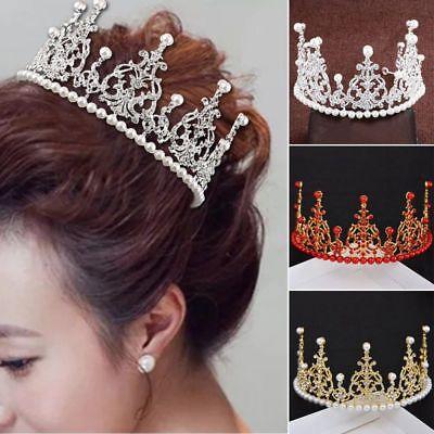 Elegant Rhinestone Crystal Princess Crown Birthday Tiara Headwear Exquisite - A Princess Crown