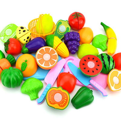 6x 1Set Kids Kitchen Fruit Vegetable Food Pretend Role Play Cutting Toys SM