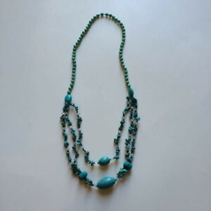 Natural blue stone necklace, hand made