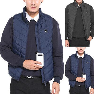Electric USB Heated Vest Jacket Coat Warm Up Heating Pad Cloth Body Warmer Men