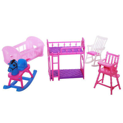 Dolls Nursery Room Furniture (5 Pieces/ Set) for Barbie Sister Kelly Doll