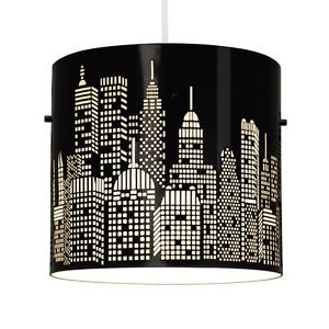 Modern-Gloss-Black-New-York-Skyline-Ceiling-Light-Fitting-Lamp-Shade-Lampshade