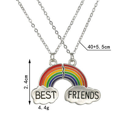 Best Friend Gift 2 Pendants Necklace Rainbow Clavicle Chain Charm BFF Friendship