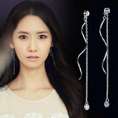 (925 Silver Plated Long Tassel Wave Earrings Drop Crystal Dangle Earrings Women )