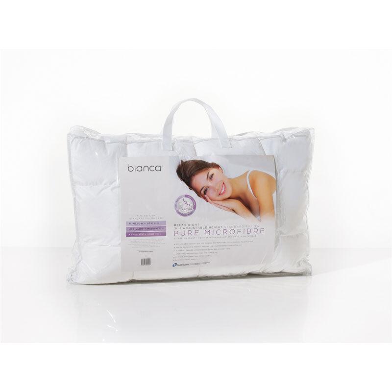 Bianca Relax Right 1000gm Pure Microfibre Fill Medium Profile Pillow