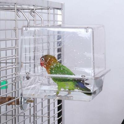 Acrylic Clear Bird Bath House Cage Hanging Parrots Cockatiels S/L High Quality