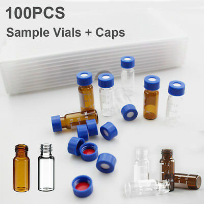 100pcs 9-425 2ml Sample Vials Caps Clear Amber Glass Bottle Vial Screw Top