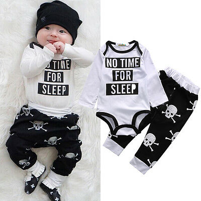 Canis Cute Newborn Baby Boy Girl Skull Halloween Romper Pants Outfit Clothes Set
