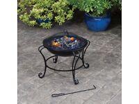 Boston Fire Pit Basket Bowl Black Steel Outdoor Heater Mesh
