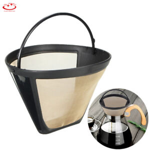 Reusable Coffee Filter Gold Tone Permanent #4 Cone Shape Coffee Filter Mesh NEW